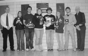 """'Teenagers of the Month' The Tyrone Elks named the most recent """"Teenagers of the Month"""". From left: High School Dean of Students Mark Mitchell, Felicia Fisher, Jonathan Harris, Nikki Moore, Dudley McNitt, Cassandra Zimmerman, Mike Moore and Tyrone Elks Representative Lamoine Zimmerman. (The Daily Herald/Christina Pryor)"""